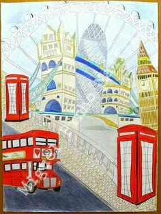 Londres, elementar. Pintura a lapis no papel com 80 X 60.