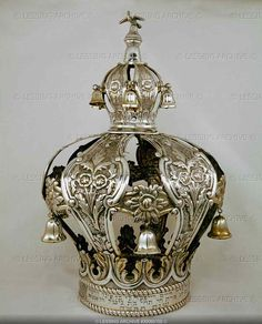 Torah crown - silver Crown-bows with floral designs and little silver bells
