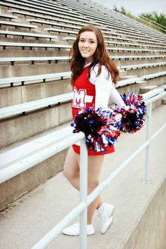 Cheer senior picture - another bleacher pose variation.
