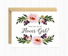 Werden Sie mein Blumenmädchen Aquarell von MooseberryPaperCo