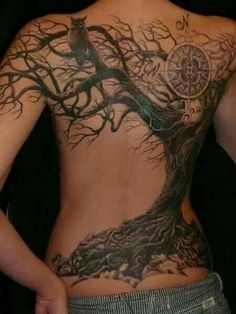 Compass, owl, and tree. What an amazing back piece.