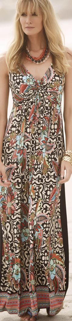Read about moroccan tile print maxi dresses & more - http://www.boomerinas.com/2015/05/14/moroccan-tile-print-maxi-dresses-tunics-for-women-over-40-50-60/