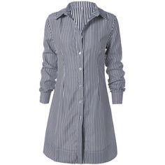 Striped Shirt Collar Mini Dress ($21) ❤ liked on Polyvore featuring dresses, tops, short dresses and mini dress