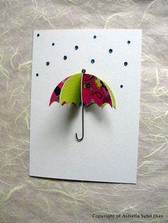 Umbrella & Rhinestone Rain Greeting Card