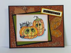#cre8time for Not So Spooky Halloween. Jamie Martin created this darling Punkin Pals card with #Stampendous stamps.