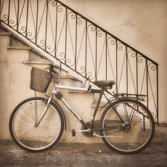 School Days, 8x8 inches fine art photograph, nostalgic street scene in sepia tones, bicycle and old stairs by stephmel on Etsy https://www.etsy.com/listing/79102955/school-days-8x8-inches-fine-art