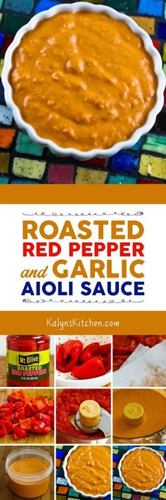 Roasted Red Pepper and Garlic Aioli Sauce might become your favorite sauce for serving over meat, fish, chicken, eggs, or veggies. And this amazing sauce with just a few ingredients is low-carb, Keto, low-glycemic, gluten-free, dairy-free, Paleo, Whole 30, vegan, and can be South Beach Diet friendly!  [found on KalynsKitchen.com]
