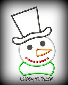 Snowman with Tophat Applique