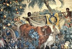 Brazilian Landscape Tapestry by Albert Eckhout 1655 x Black Indians, Extinct Animals, Old Paintings, Native Indian, African History, Renaissance Art, Black History, Native American, Poster