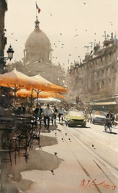 Sunny Day, Paris by Joseph Zbukvic - Greenhouse Gallery of Fine Art #watercolor jd: