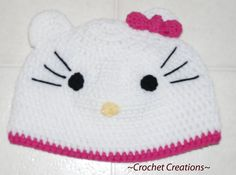 Crochet Hello Kitty Adult Hat       Enjoy this Cute Hello Kitty Hat Pattern!                       My Crochet You Tube Channel:  https://ww...