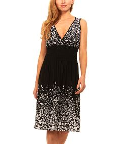 Black & White Leaf Smocked-Waist Surplice Dress
