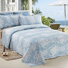 $80 C-CTN-3pc-Printed-Bedspread-Coverlet-Set-Quilt-Set-King-Size-Light-Blue