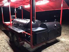 This BBQ pit smoker is a show stopper! You'll have plenty of space on this pull behind trailer to entertain any size crowd. Bbq Smoker Trailer, Bbq Pit Smoker, Trailer Smokers, Drum Smoker, Pit Bbq, Custom Bbq Smokers, Custom Bbq Pits, Custom Bbq Grills, Homemade Smoker Plans