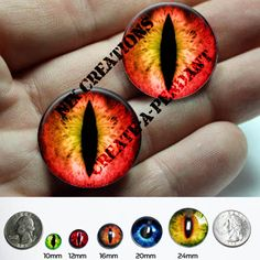 Glass Eyes - 24mm - Pair of 1 inch Red Yellow Dragon Glass EyesTaxidermy Doll Eyeballs Cabochons for Steampunk Jewelry and Pendant Making by Nixcreations, $9.00