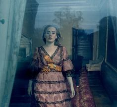 Adele in a sapphire blue Alexander McQueen gown and Birds of Paradise Gucci dress photographed at Claridge's of London by Annie Leibovitz for Vogue, March Vogue 2016, Vogue Us, Vogue Covers, Bruno Mars, Annie Leibovitz Photography, Body Positivity, Magazine Vogue, Costumes, Editorial Photography