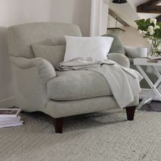 The White Company Petersham armchair - ShopStyle Living Room Chairs Gray Interior, Interior Design, Interior Ideas, White Armchair, Buy Sofa, The White Company, Scatter Cushions, Bed Styling, Upholstered Furniture