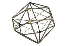 Crafted of iron with golden accents, this geometric accent adds dimension and visual interest to any tabletop display.Gold Leaf Design Group is committed to introducing inspiring, handcrafted wares...
