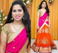 Bride in Attractive Orange Half Saree