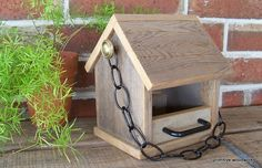 Bird Feeder, Wooden Rustic Recycled Natural Weathered Rough Cedar - with Black Perches