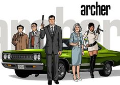 Archer - Cyril Figgis, Sterling Archer, Malory Archer and Lana Kane