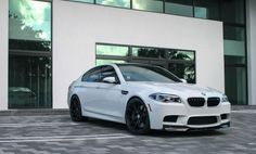 image of Alpine White BMW With Akrapovic And Vorsteiner Parts 1 Black Rims, Black Wheels, Bmw M5 F10, Bmw White, Bmw Wallpapers, Top Luxury Cars, Alpine White, Bmw Series, Sports Sedan