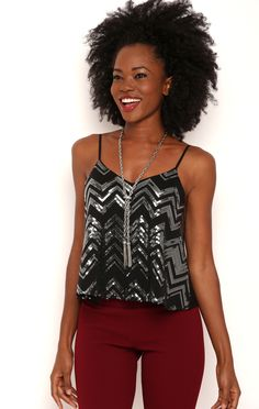 Deb Shops Chevron Sequin Pattern Tank Top $10.75