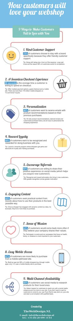 How customers will love your #webshop #infographic: Find some inspirations on how to improve your webshop, 9 way to make customers fall in love with you.