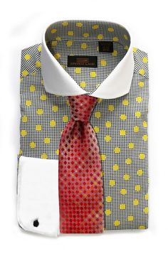 Men's Dress Shirt by Steven Land - Yellow Dot Pattern