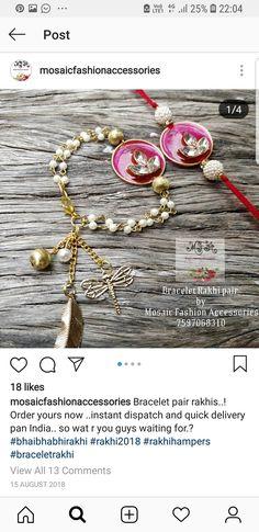 Rakhi Bracelet, Handmade Rakhi Designs, Rakhi Making, Rakhi Online, Cool School Supplies, Wedding Events, Diy Things, Embroidered Blouse, Top Pattern