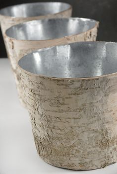 For a lovely woodsy touch at an outdoor wedding, use these birch bark centerpiece vases. Each birch vase is a zinc metal pot wrapped in natural bark. The birch vase is wide at the top and tall with a base. Succulent Centerpieces, Rustic Wedding Centerpieces, Vase Centerpieces, Wedding Decorations, Wedding Ideas, Rustic Vases, Wedding Reception, Fall Wedding, Wedding Stuff