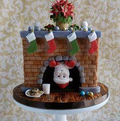 Kamin mit Weihnachtsmann