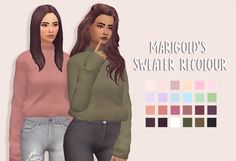 knit sweater retexture and recolour with the holiday season fast approaching i thought a big chunky knit sweater would be appropriate! i'm a fan of the original mesh by marigold but i wanted to...