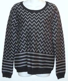 "Joie Large Hideaki Chevron Sweater. Free shipping and guaranteed authenticity on Joie Large Hideaki Chevron Sweater""Hideaki"" style sweater from Joie in black and met..."