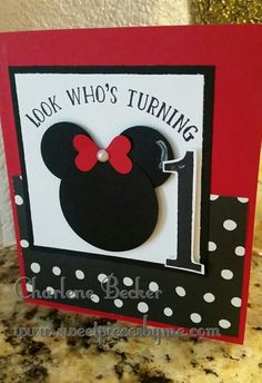 Minnie Mouse Birthday Card - Turning One, polka dot, Number of years, Charlene Becker Sweetpiecesbyme@gmail.com sweetpiecesbyme.stampinup.net