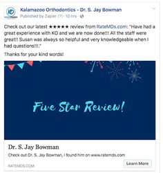 Embracing Innovative Orthodontics - Portage, Kalamazoo, Paw Paw, MI: 5 Stars from Ratemds