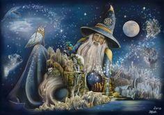 Merlins World by Martina Arend - Digital Artist Fantasy Dragon, Dragon Art, High Fantasy, Fantasy Art, Wizard Tattoo, Fantasy Wizard, Creation Photo, Mini Paintings, Animation