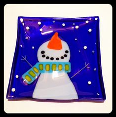 Snowman Fused Glass Plate by SparksPainInTheGlass on Etsy, $35.00