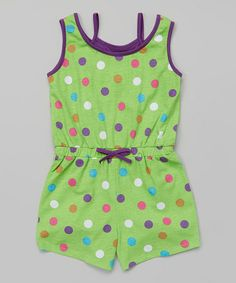 Love this Green Polka Dot Romper - Toddler & Girls on #zulily! #zulilyfinds