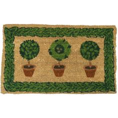 @Overstock - Rubber-Cal 'Grandma?s Plants' Coco Welcome Door Mat (18 x 30) - This coir mat features an image of three potted plants that remind all who see of their grandmother's peaceful garden. The mat is made from natural coconut fiber with bleached fiber thread and emulsion paint, so it's eco-friendly.  http://www.overstock.com/Home-Garden/Rubber-Cal-Grandma-s-Plants-Coco-Welcome-Door-Mat-18-x-30/8307451/product.html?CID=214117 $32.99