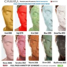 CASMARA MASK FULL COLLECTION -Variety of 10 peel off facial masks at a bargain price
