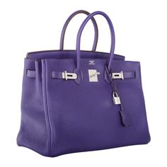 Can't Get This Hermes Birkin Bag 35cm Iris Stunning Togo | From a collection of rare vintage handbags and purses at http://www.1stdibs.com/fashion/accessories/handbags-purses/
