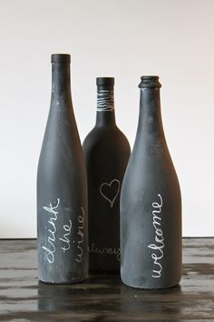 Chalkboard Painted Wine Bottles