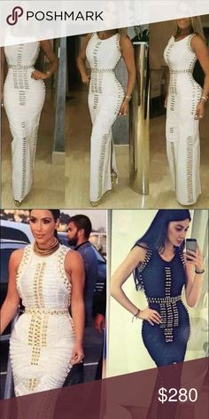 Celebrity style long dress Celebrity style high quality bandage dress, black or white sizes S/M/L this amazing dress is a show stopper, seen on Kim Kardashian Dresses Maxi