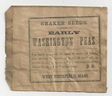 Hancock Massachusetts Shaker Seed Bag/Packet, Washington Peas