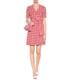 Exclusive to mytheresa.com – red and white printed crêpe wrap dress