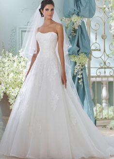 classic ballgown David Tutera for Mon Cheri wedding dresses