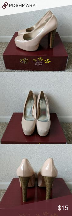 Nude heels Size 8 5 inches 1.5 inch platform Barely worn, but some scuff marks City Streets Shoes Heels
