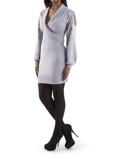 This Long Sleeve Cold Shoulder Surplus Dress with Sequins By Dots Fashions is perfect for a holiday party. It keeps you warm but shows a little skin. #dotsPintoWin