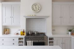 Sustainable Kitchens - Bright Open Plan Family Kitchen in London. Oak shaker style cabinetry painted in Farrow Kitchen Mantle, Kitchen Chimney, Family Kitchen, New Kitchen, Kitchen Dining, Kitchen Ideas, Kitchen Larder, Kitchen Paint, Kitchen Reno